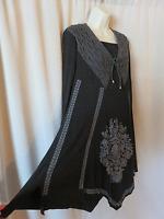 Patika Knit Asymmetrical Artsy Tunic Dress Charcoal Gray Black Size M L