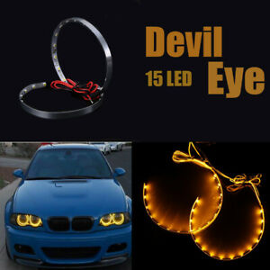 2PCS 15LED Devil Eyes Angle Eyes Design Yellow Light Headlight Projector Ring