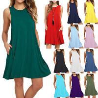US Women's Pocket Loose Summer Beach Vest Dress Sleeveless Swing Knee Sundress