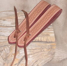 """Heavy 15"""" Leather Water Loops / Extension For Reins 1"""" Wide Basket Tooling. G&E"""