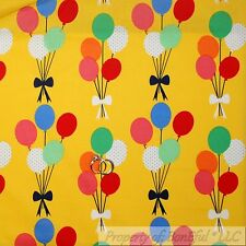 BonEful Fabric Cotton Quilt Yellow Red Blue White Birthday Balloon Baby NR SCRAP