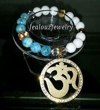 Gold Lucky Om Turquoise White Gemstone Stretch Yoga Bracelet Arm Candy Medallion