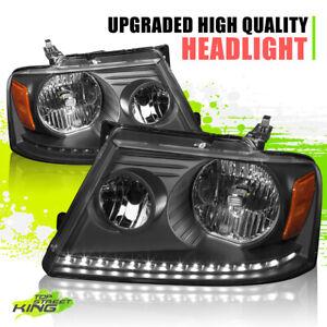 LED DRL Running Light Halogen Headlights for Ford F150 04-08 Black Housing Pair