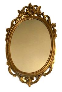 """Syroco Gold Gilt Cherub Mirror 30""""x18"""" Hollywood Regency Rococo Baroque Vtg 1969"""