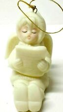 Vintage White Bisque Child Snow Angle Christmas Ornament