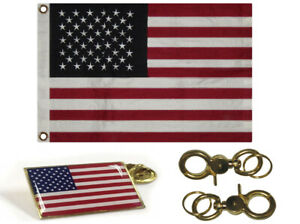 "16x24 Embroidered 100% Cotton USA American Flag 16""x24"" Banner Frame Pin Clips"