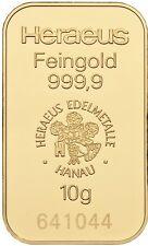 Lingot or Pur 10 Grammes 999.9 Neuf Scelle avec Certificat.