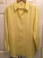 Simple NYC 100% Linen Yellow Long Sleeve Button Front Tunic Women's M EUC!