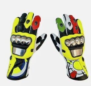 VR46 Vallentino Rossi Motorbike Motorcycle Riding Leather Gloves Fireproof kevla