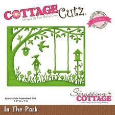 """CottageCutz Elites Die IN THE PARK   3.9"""" X 3""""  Background  Birdhouse Tree Trunk"""