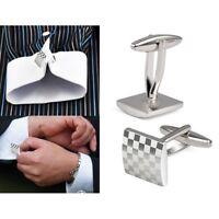 Mens Stainless Steel Business Shirt Silver Square Lattice Wedding Cufflinks M5L3