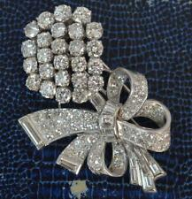 Stunning 10 Carat Diamond & 18ct White Gold Vintage Floral Spray Brooch