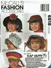 McCALL'S 6818 ~ HATS FOR BABY / TODDLER / CHILD - 10 x LOOKS SM, MED, LG