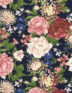 Sakura, Floral on Navy, Fat Quarter 100% Cotton Timeless Treasures