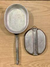 WWII Aluminum Mess Kit 2 Piece with Handle with Date Stamped Between 1941-1945