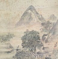 Japanese Hanging Scroll Kakejiku Hand Paint Silk Landscape Mountain Antique G282