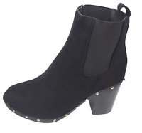 Womens Ladies New Look Black Faux Suede High Heel Shoes Ankle Boots Size 4 New
