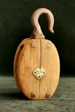 """Large antique wooden ships pulley with wood wheel 9"""" Maritime Display"""