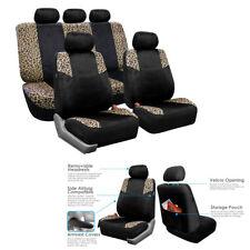 5-Sits Car Auto Seat Cover Set Leopard Print Velour s Airbag & Split Lush Velour