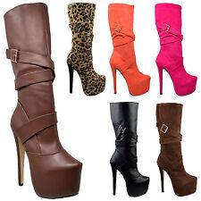 Women's Mid Calf Boots Platform High Heel Stiletto Strappy Buckles Zip Closure