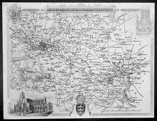 1836 Thomas Moule Original Antique Map of Environs of Bath and Bristol, England