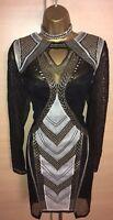 Exquisite Karen Millen Black Gold Embroidered Mesh Dress Uk8 Stunning