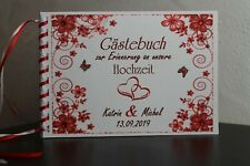 """Gästebuch Hochzeit mit Namen Holzoptik /""""Wegweiser/"""" 80041 in 5 Farben"""