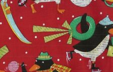 Penguins red Nancy Wolff   fabric