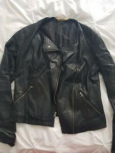 Womens Hollister real  Leather biker Jacket Black size medium M