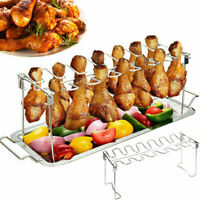 Stainless Steel Grill Chicken Leg Drumstick Stand Holder BBQ No Tray