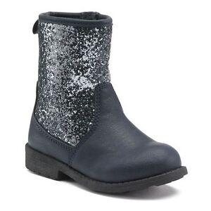 NWT - Carter's Toddler Girls Navy/Sparkle Mara Zip Up Boots - Size 7 Toddler