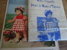 T13 PATRON POUPEE MARIE- FRANCOISE MODES & TRAVAUX ROBE & CHAPEAU JUIN  1972