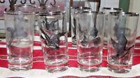 Vintage Mid Century Modern Highball Glasses 6 Federal Glass Pheasant Tumblers