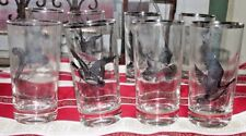 Vintage Mid Century Modern Highball Glasses 6 Federal Glass Pheasant Tumblers