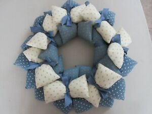 Vintage Stuffed Fabric Wreath Wall Hanging Country Blue and White