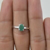 Handmade 925 Solid Sterling Silver Jewelry Emerald Solitaire Ring Size 6
