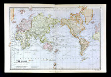 1883 Blackie Map - World on Mercators Projection - Europe Asia Africa America