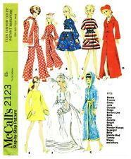 Vintage McCall's Barbie Francie Doll Clothes Fabric Sew Pattern # 2123