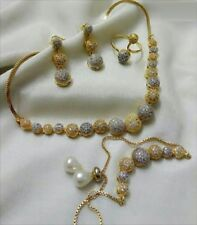 Women Jewelry COMBO Set Bridal Necklace Set Gold plated Zircon Indian Wedding