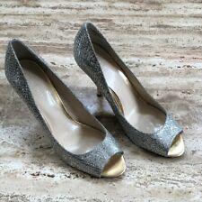 Nine West Sorbet Silver Gold Glitter Peep Toe Heels Pumps Size 7.5