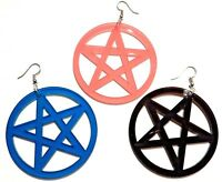TRANSLUCENT ACRYLIC PENTAGRAM EARRINGS hoop pentacle wiccan witch pagan 4Z