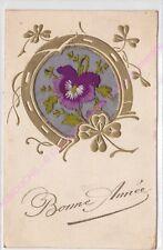 CPA BRODEE EMBROIDERED BORDADA Bonne année fer à cheval  fleurs violette
