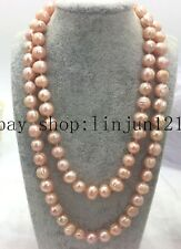 Natural 10-11mm Pink Huge Freshwater Cultured Pearl Necklace 25 Inch