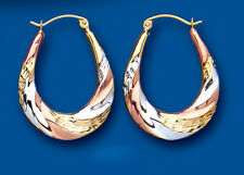 Hoop Earrings Rose Yellow and White Gold Creole Hoops Hallmarked