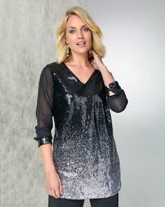JULIPA Silver/Black Chiffon Sleeve Ombre Sequin Tunic UK 20  US 16    (FS40-12)