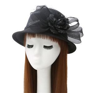 Women's Classic Wool Winter Hats Felt Wedding Church Fedora Flower Bowler Caps