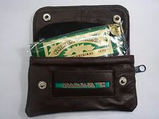 Soft Leather Tobacco Pouch Organizer with Space for Paper Money Small Brown