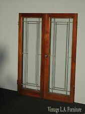 Pair of Antique French Country Glass Leaded Oak Cabinet Doors