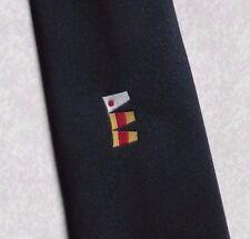 WOOD'S 100 FLAG PENNANT TIE VINTAGE RETRO 1980s 1990s NAUTICAL NAVY RUM NECKTIE