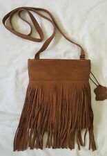 Margot Genuine Leather Fringe Suede Bag Purse Crossbody Tobacco Brown NWT